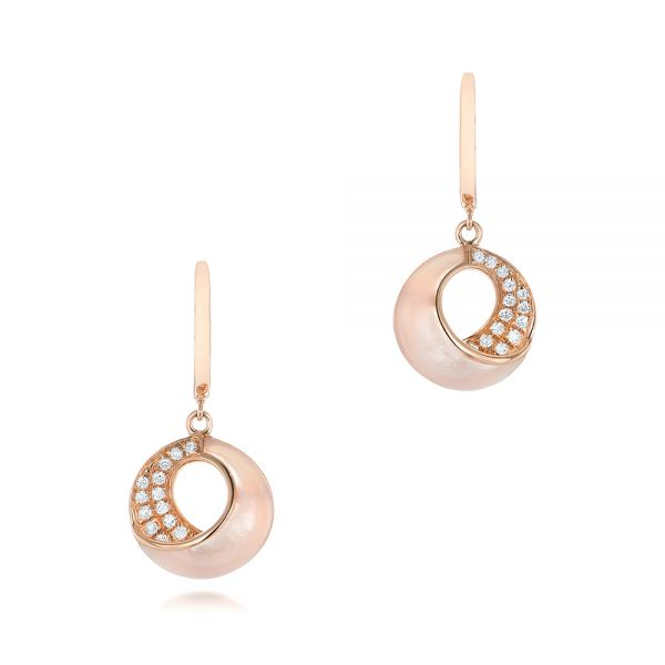 Pink Mother of Pearl and Diamond Venus Twist Earrings - Image