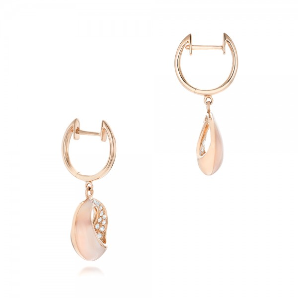 Pink Mother of Pearl and Diamond Venus Twist Earrings - Laying View