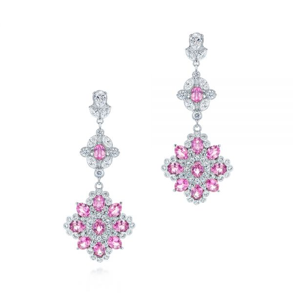 Pink Sapphire and Diamond Dangle Earrings - Image