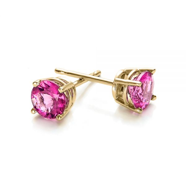 14k Yellow Gold 14k Yellow Gold Pink Tourmaline Stud Earrings - Front View -  100945