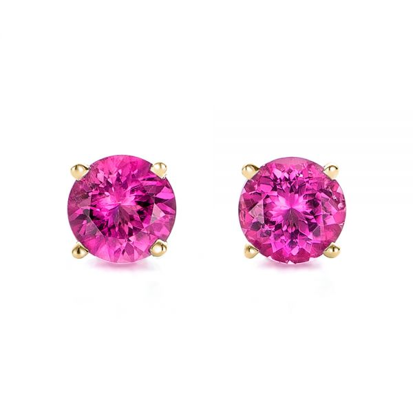 14k Yellow Gold 14k Yellow Gold Pink Tourmaline Stud Earrings - Three-Quarter View -  100945