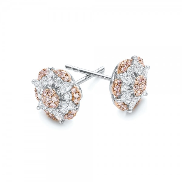 Pink and White Diamond Flower Stud Earrings - Flat View -  101955 - Thumbnail