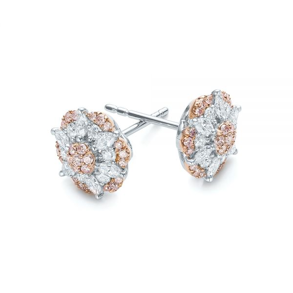 Pink And White Diamond Flower Stud Earrings - Front View -