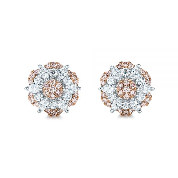 Pink and White Diamond Flower Stud Earrings - Image