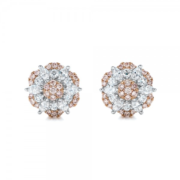 Pink and White Diamond Flower Stud Earrings