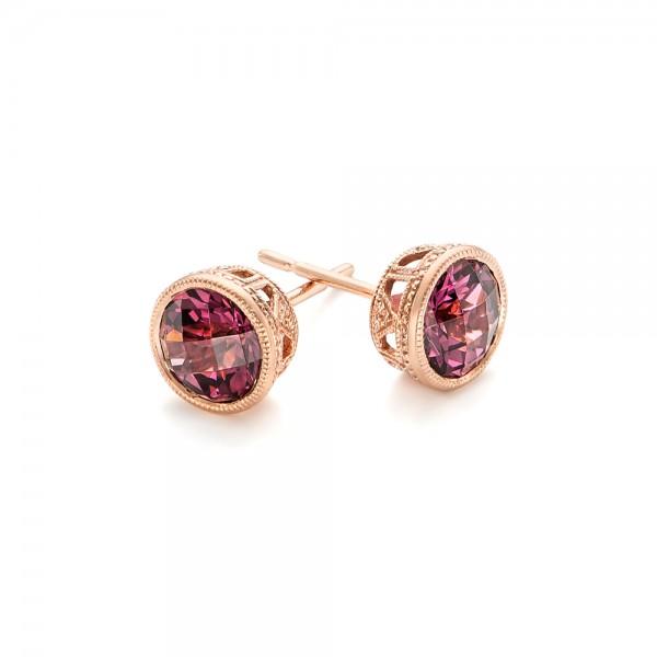 Rhodolite Stud Earrings - Laying View