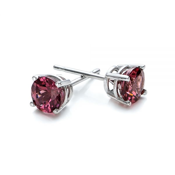 Rhodolite Stud Earrings - Front View -  100941