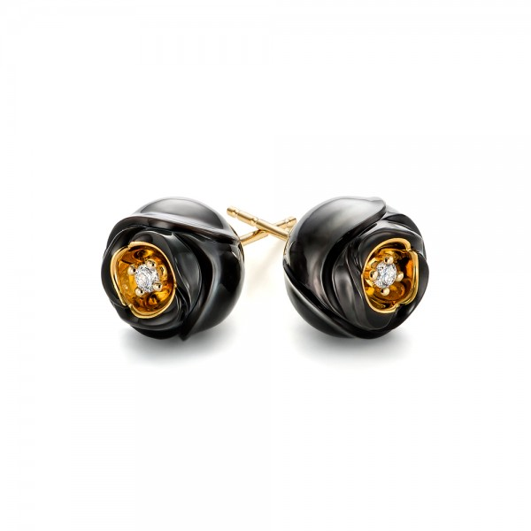 Rose Carved Tahitian Pearl and Diamond Earrings