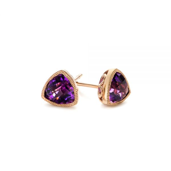 Rose Gold Amethyst Stud Earrings - Front View -  103729 - Thumbnail
