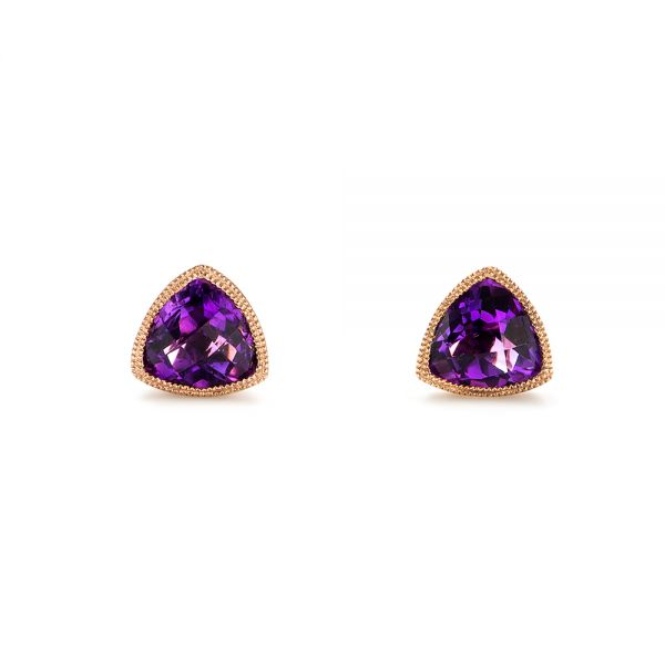 Rose Gold Amethyst Stud Earrings