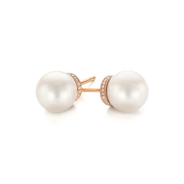 Rose Gold Pearl and Diamond Stud Earrings - Flat View -  103605 - Thumbnail