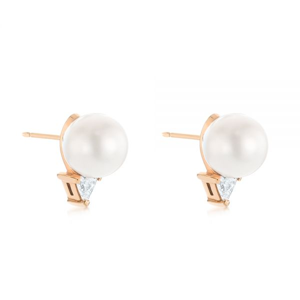 18k Rose Gold 18k Rose Gold Round Pearl And Triangle Diamond Stud Earrings - Front View -  101490 - Thumbnail