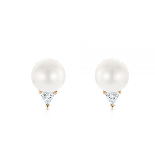 18k Rose Gold 18k Rose Gold Round Pearl And Triangle Diamond Stud Earrings - Three-Quarter View -  101490 - Thumbnail