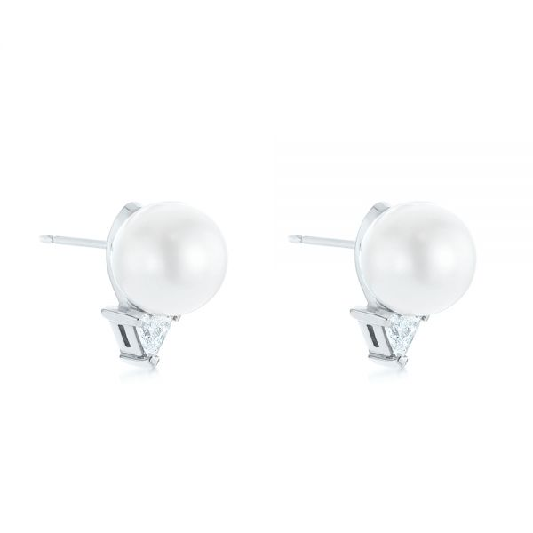 14k White Gold 14k White Gold Round Pearl And Triangle Diamond Stud Earrings - Front View -