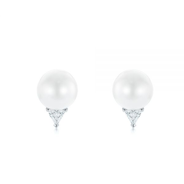 14k White Gold 14k White Gold Round Pearl And Triangle Diamond Stud Earrings - Three-Quarter View -