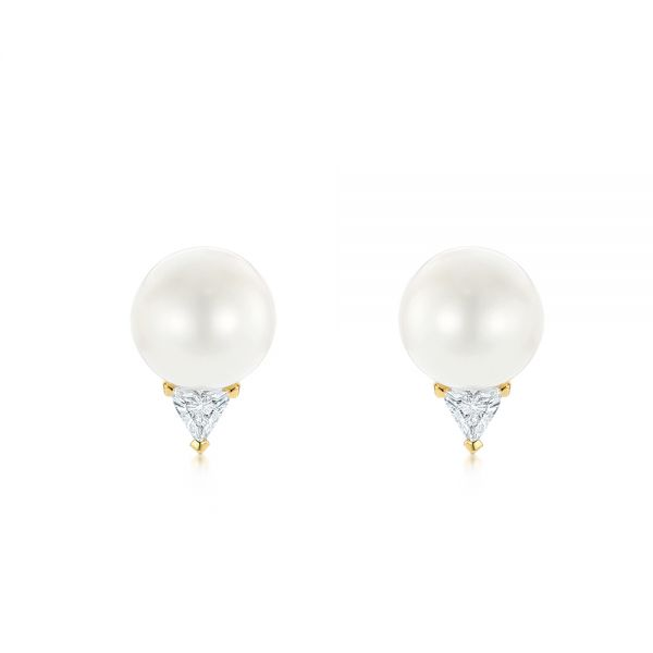 Round Pearl and Triangle Diamond Stud Earrings - Image