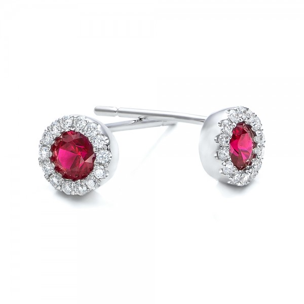 Ruby and Diamond Halo Earrings - Laying View