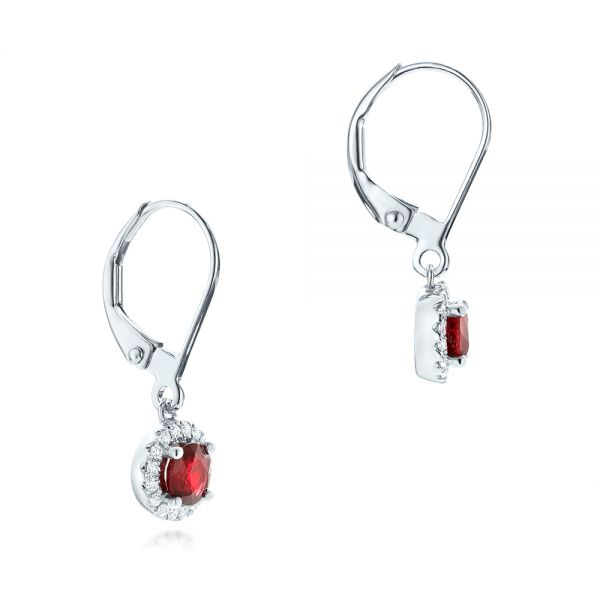 Ruby And Diamond Halo Earrings - Front View -  102625