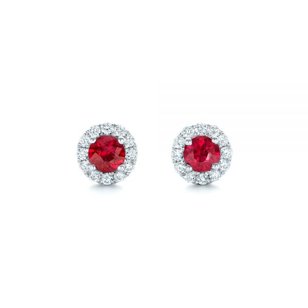 Ruby and Diamond Halo Earrings - Image