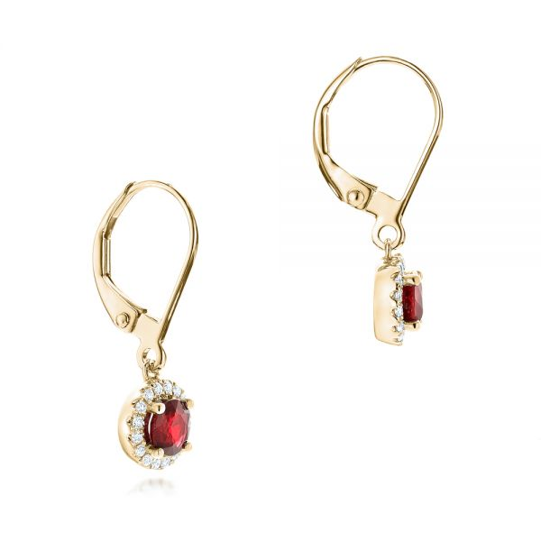 18k Yellow Gold 18k Yellow Gold Ruby And Diamond Halo Earrings - Front View -  102625