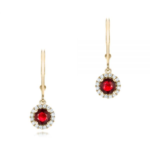 18k Yellow Gold 18k Yellow Gold Ruby And Diamond Halo Earrings - Three-Quarter View -  102625