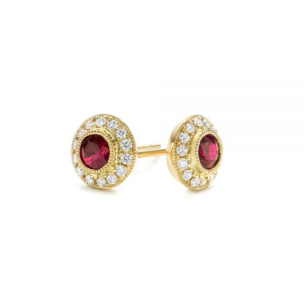 Ruby and Diamond Halo Stud Earrings - Front View -  103730 - Thumbnail