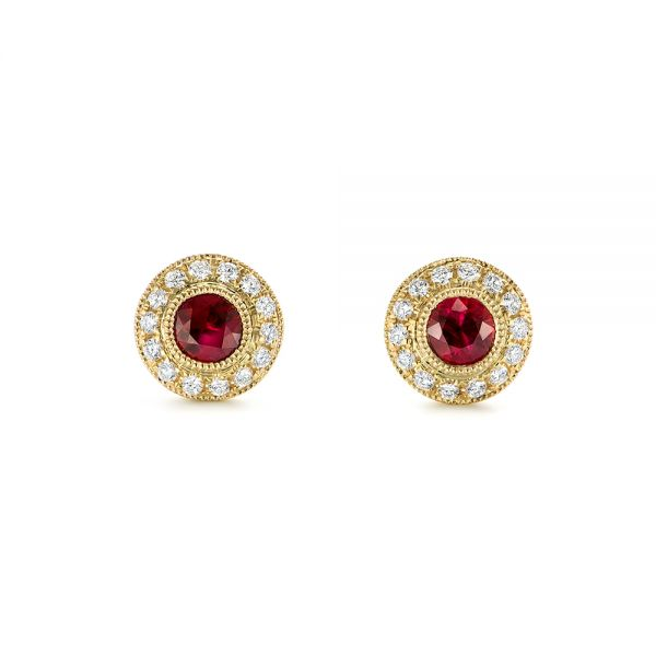 Ruby and Diamond Halo Stud Earrings - Image