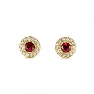 Ruby and Diamond Halo Stud Earrings