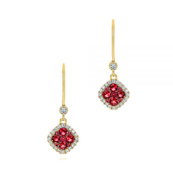 Ruby and and Diamond Leverback Earrings - Image