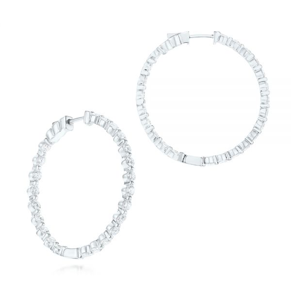 18k White Gold Single Prong Diamond Hoop Earrings - Three-Quarter View -