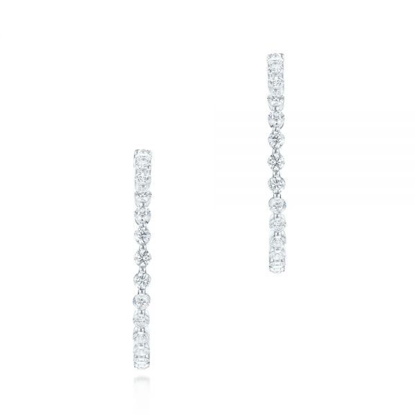 18k White Gold Single Prong Diamond Hoop Earrings - Front View -