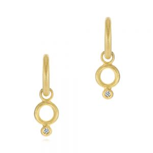 Solid Hoop Earrings with Rondo Bead Charms - Image