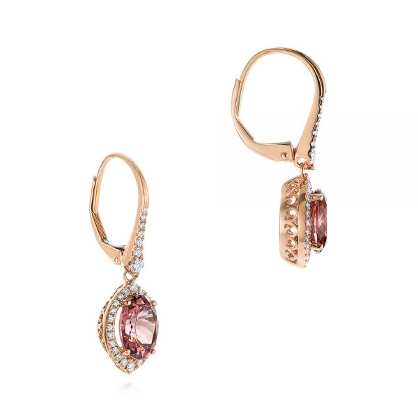 14k Rose Gold Spice Zircon Lever Back Earrings - Front View -  105338 - Thumbnail