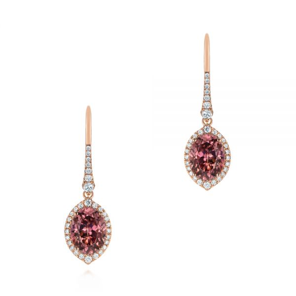 14k Rose Gold Spice Zircon Lever Back Earrings - Three-Quarter View -