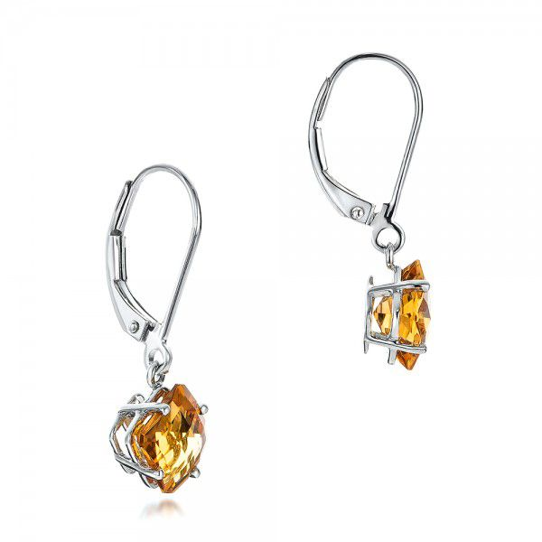 Square Checkerboard Citrine Drop Earrings - Front View -