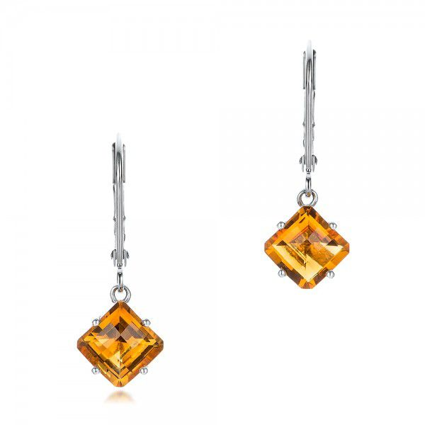 Square Checkerboard Citrine Drop Earrings - Three-Quarter View -