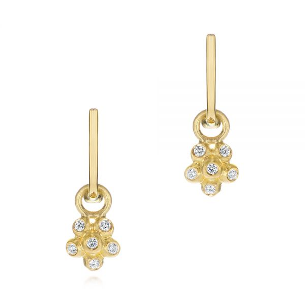 Star Flower Diamond Drop Earrings - Image