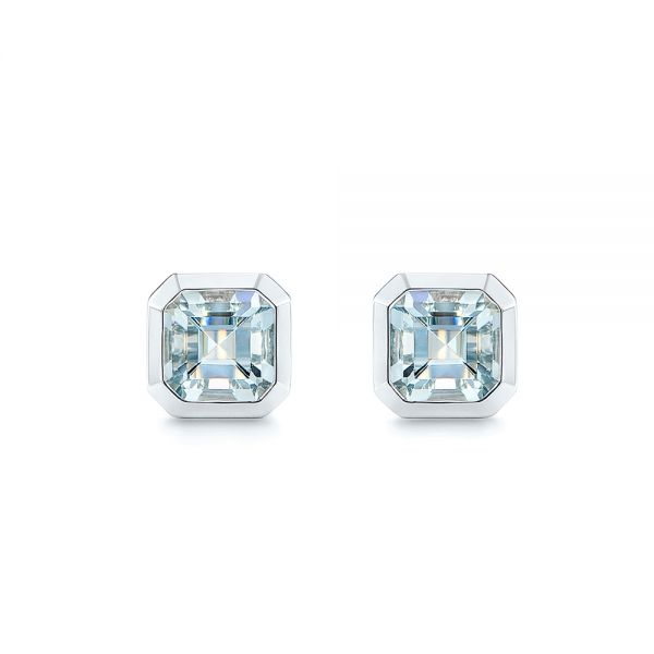 Step Cut Aquamarine Stud Earrings - Image
