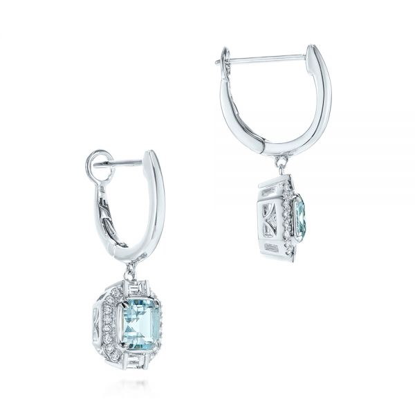 Step Cut Aquamarine And Diamond Drop Earrings - Front View -  105977