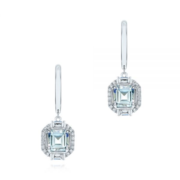 Step Cut Aquamarine and Diamond Drop Earrings - Image