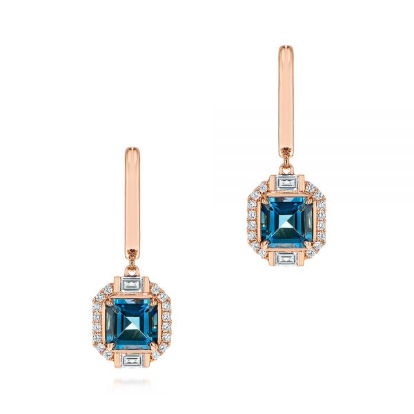 Step Cut London Blue Topaz and Diamond Earrings - Image