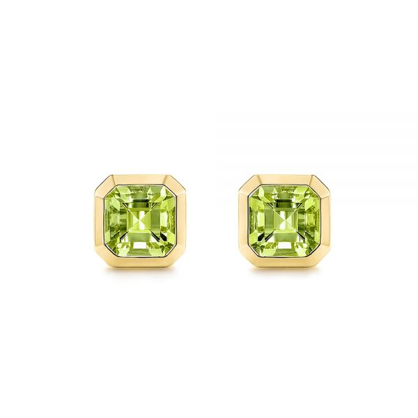 Step Cut Peridot Stud Earrings - Image