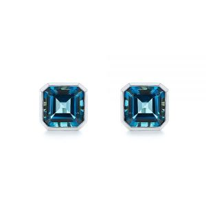 Step-cut London Blue Topaz Stud Earrings - Image