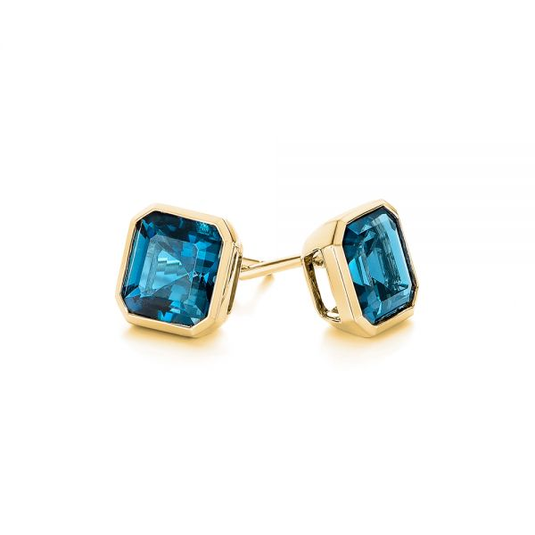 14k Yellow Gold 14k Yellow Gold Step-cut London Blue Topaz Stud Earrings - Front View -  105997