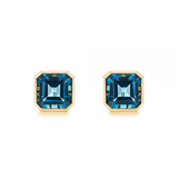 14k Yellow Gold 14k Yellow Gold Step-cut London Blue Topaz Stud Earrings - Three-Quarter View -  105997