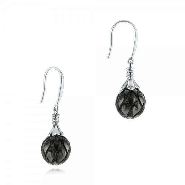Carved Tahitian Pearl and Diamond Earrings - Flat View -  103255 - Thumbnail