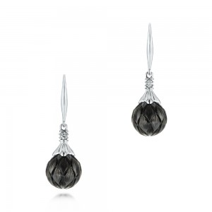 Carved Tahitian Pearl and Diamond Earrings