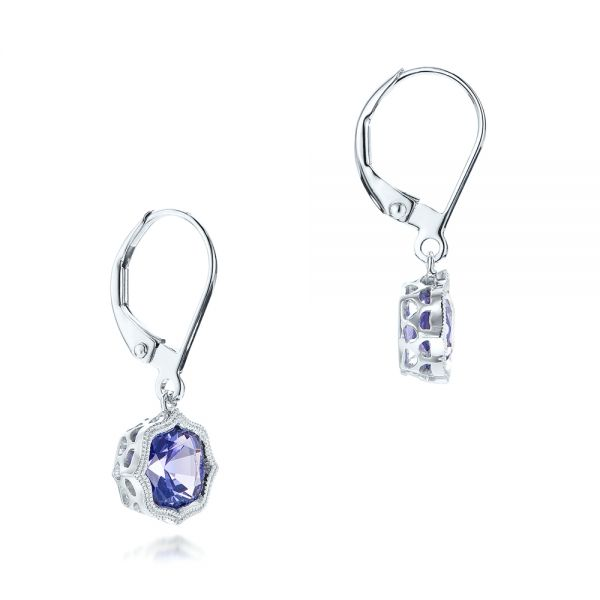 14k White Gold Tanzanite Leverback Earrings - Front View -  102516
