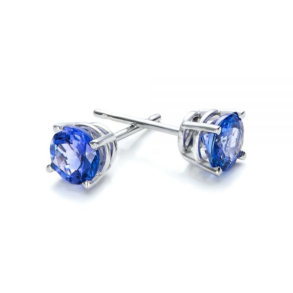 Tanzanite Stud Earrings - Front View -  100947 - Thumbnail