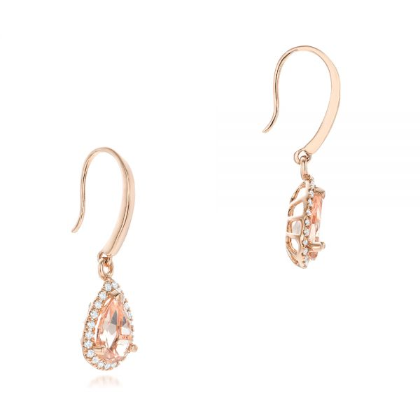 Tear Drop Morganite And Diamond Halo Earrings - Front View -